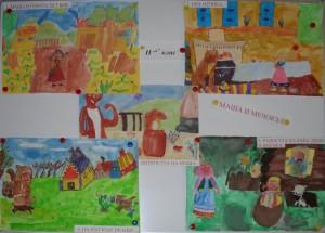 """Рисунки от приказката - """"Маша и мечокът"""""""